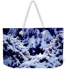 Weekender Tote Bag featuring the photograph The Deep Blue - Winter Wonderland In Switzerland by Susanne Van Hulst