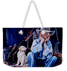 Weekender Tote Bag featuring the painting The Dilemma by Hanne Lore Koehler
