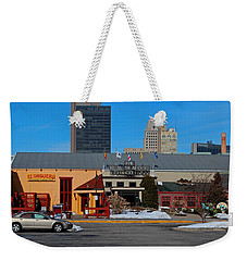 Weekender Tote Bag featuring the photograph The Docks by Michiale Schneider