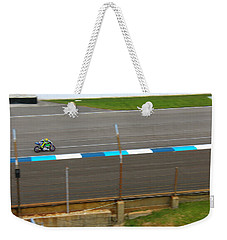 Weekender Tote Bag featuring the photograph The Doctor At Indy  Valentino Rossi  by Iconic Images Art Gallery David Pucciarelli