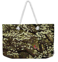 Weekender Tote Bag featuring the digital art The Dogwoods And The Cardinal by Darren Fisher