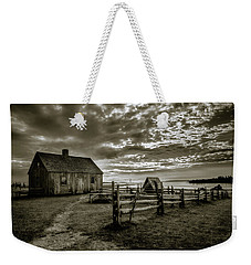 Weekender Tote Bag featuring the photograph The Doucet House - Bw by Chris Bordeleau