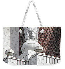 Weekender Tote Bag featuring the photograph The Eagle On The United States Custom House Philadelphia Pennsyl by Bill Cannon