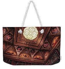 Weekender Tote Bag featuring the photograph The East Room Ceiling by Jessica Jenney