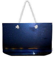 Weekender Tote Bag featuring the photograph The Egret And The Milky Way by Mark Andrew Thomas
