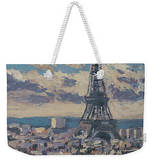 Weekender Tote Bag featuring the painting The Eiffel Tower Paris by Nop Briex