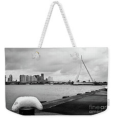 Weekender Tote Bag featuring the photograph The Erasmus Bridge In Rotterdam Bw by RicardMN Photography