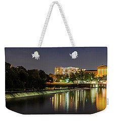 Weekender Tote Bag featuring the photograph The Fairmount Dam And Art Museum At Night Panorama by Bill Cannon