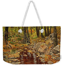 Weekender Tote Bag featuring the painting The Fall Stream by Roena King