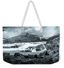 Weekender Tote Bag featuring the photograph The Falls In Black And White by Andrew Matwijec