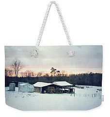 The Farm In Snow At Sunset Weekender Tote Bag