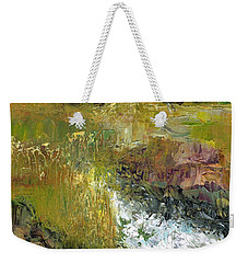 Weekender Tote Bag featuring the painting The Farmers Ditch Fall by Frances Marino