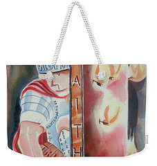 Weekender Tote Bag featuring the painting The Fiery Darts Of The Evil One by Kip DeVore