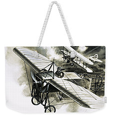 The First Reconnaissance Flight By The Rfc Weekender Tote Bag by Wilf Hardy