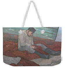 Weekender Tote Bag featuring the painting The Fisherman by Steve Mitchell