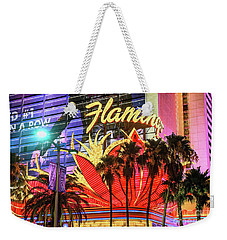 Weekender Tote Bag featuring the photograph The Flamingo Neon Sign And Palm Trees Wide by Aloha Art