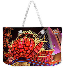 Weekender Tote Bag featuring the photograph The Flamingo Neon Sign Wide by Aloha Art