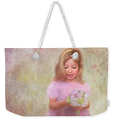 Weekender Tote Bag featuring the mixed media The Flower Princess by Colleen Taylor