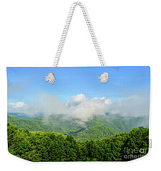 Weekender Tote Bag featuring the photograph The Fog Rises Over The Bluestone Gorge - Pipestem State Park by Kerri Farley