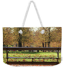 The French Bench And The Autumn Weekender Tote Bag by Yoel Koskas