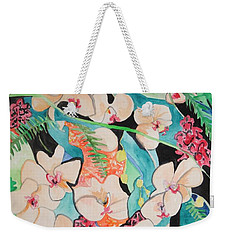 Weekender Tote Bag featuring the painting The Gallery Of Orchids 1 by Esther Newman-Cohen