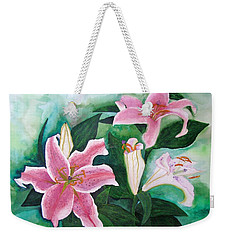 Weekender Tote Bag featuring the painting The Gift by Margaret Bobb