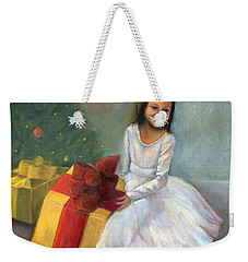 Weekender Tote Bag featuring the painting The Gift by Marlene Book