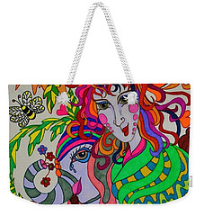 Weekender Tote Bag featuring the painting The Girl And The Elephant by Alison Caltrider