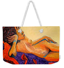 Weekender Tote Bag featuring the painting The Girl From Ipanima by Esther Newman-Cohen