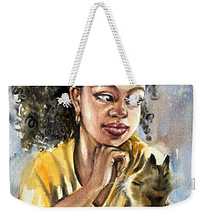 The Girl With A Cat Weekender Tote Bag