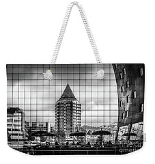 Weekender Tote Bag featuring the photograph The Glass Windows Of The Market Hall In Rotterdam by RicardMN Photography