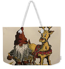 The Gnome And His Reindeer Weekender Tote Bag