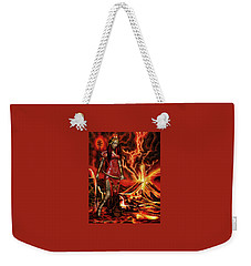 Weekender Tote Bag featuring the painting The Goodess Pele Of Hawaii by James Christopher Hill
