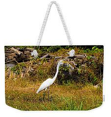 Egret Against Driftwood Weekender Tote Bag