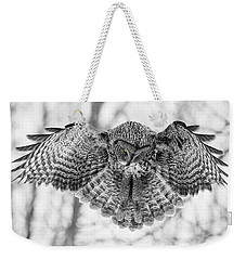 Weekender Tote Bag featuring the photograph The Great Grey Owl In Black And White by Mircea Costina Photography