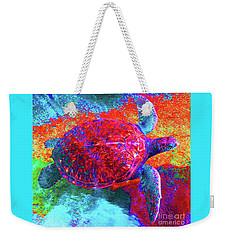 Weekender Tote Bag featuring the photograph The Great Sea Turtle In Abstract by D Davila