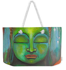 Weekender Tote Bag featuring the painting The Green Buddha by Prerna Poojara