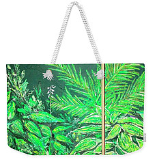 Weekender Tote Bag featuring the painting The Green Flower Garden by Darren Cannell