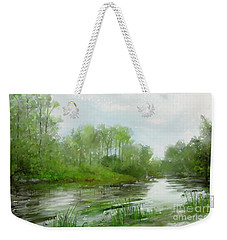 Weekender Tote Bag featuring the painting The Green Magic Of Ordinary Days by Ivana Westin