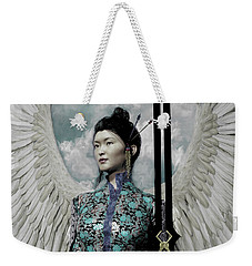 Weekender Tote Bag featuring the painting The Guardian 2 by Suzanne Silvir