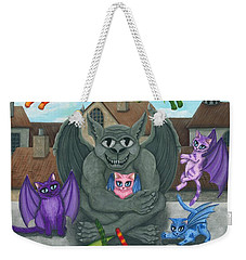 Weekender Tote Bag featuring the painting The Guardian Gargoyle Aka The Kitten Sitter by Carrie Hawks