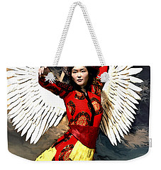 Weekender Tote Bag featuring the painting The Guardian by Suzanne Silvir