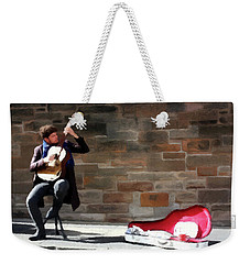 Weekender Tote Bag featuring the painting The Guitarist by David Dehner