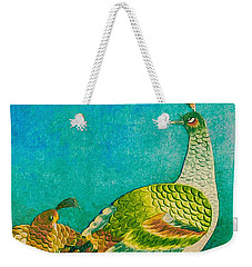 The Handsome Peacock - Kimono Series Weekender Tote Bag by Susan Maxwell Schmidt