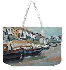 Weekender Tote Bag featuring the painting The Harbour Of Mevagissey by Nop Briex