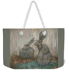 Weekender Tote Bag featuring the painting The Hare's Den by Steve Mitchell