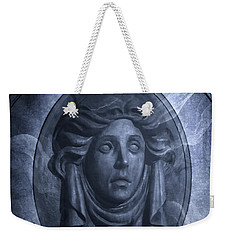 Weekender Tote Bag featuring the photograph The Headstone Of Madame Leota by Mark Andrew Thomas