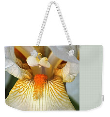 Weekender Tote Bag featuring the photograph The Heart Of A Bearded Iris by Sheila Brown