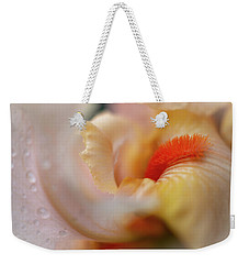 Weekender Tote Bag featuring the photograph The Heart Of A Yellow Iris by Francisco Gomez