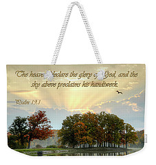 Weekender Tote Bag featuring the photograph The Heavenly Morning Card by Ann Bridges